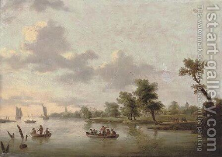 A river landscape with anglers in boats, a village beyond by (after) Norbert Joseph Carl Grund - Reproduction Oil Painting