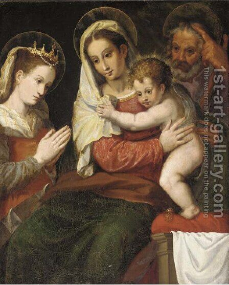 The Holy Family with Saint Catherine by (after) Orazio Samacchini - Reproduction Oil Painting