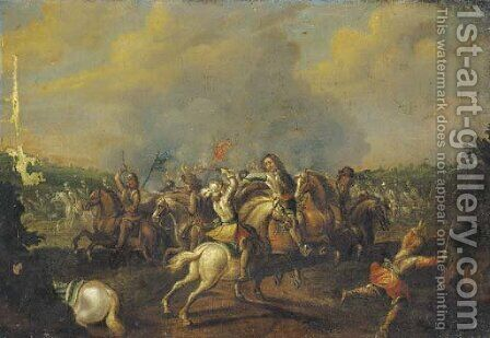 A cavalry skirmish by (after) Palamedes Palamedesz. (Stevaerts, Stevens) - Reproduction Oil Painting