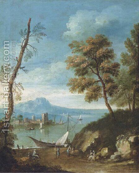 A Mediteranean coastal landscape with figures by (after) Paolo Anesi - Reproduction Oil Painting