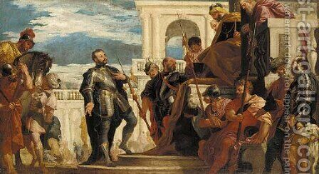 Saint Sebastian before Diocletian by (after) Paolo Veronese (Caliari) - Reproduction Oil Painting