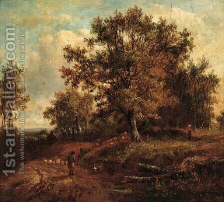 A shepherd and his dog herding sheep along a country track by (after) Patrick Nasmyth - Reproduction Oil Painting