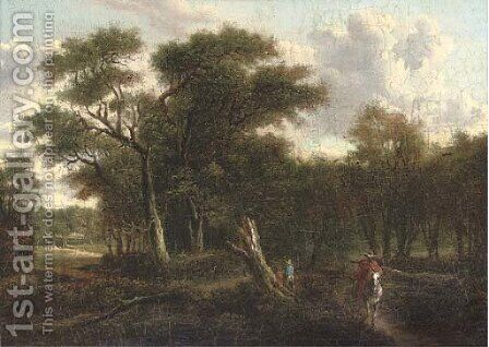 A traveller riding along a wooded track by (after) Patrick Nasmyth - Reproduction Oil Painting