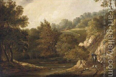 Figures before a cottage in a wooded landscape; and A drover with cattle and sheep on a wooded path by (after) Patrick Nasmyth - Reproduction Oil Painting