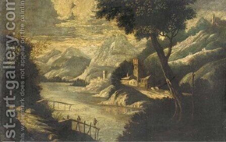 A mountainous river landscape with figures on a pier and fortified towns beyond by (after) Paul Bril - Reproduction Oil Painting