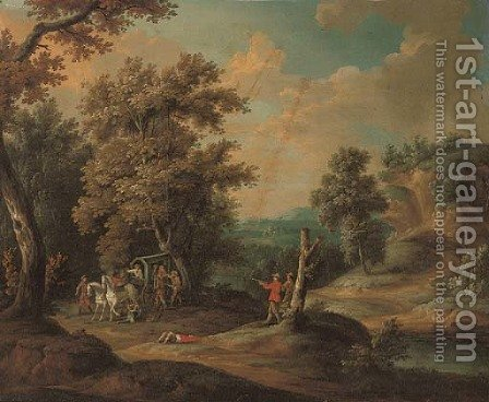 A wooded river landscape with brigands ambushing a carriage by (after) Paul Bril - Reproduction Oil Painting