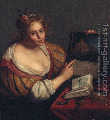 A personification of vanity by (after) Paulus Moreelse - Reproduction Oil Painting