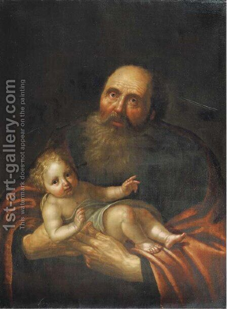 Saint Simeon with the Christ Child by (after) Paulus Moreelse - Reproduction Oil Painting