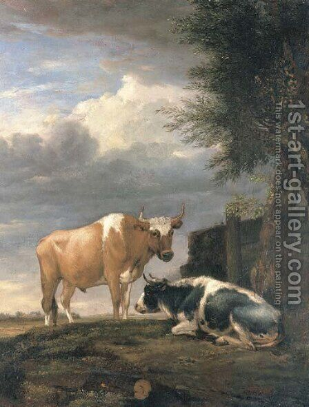 Two cows in a landscape by (after) Paulus Potter - Reproduction Oil Painting
