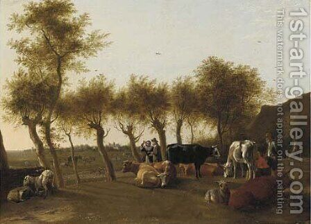 A landscape with a milkmaid and a herder with cows and sheep, an elegant couple on a tree-lined path beyond by (after) Paulus Potter - Reproduction Oil Painting