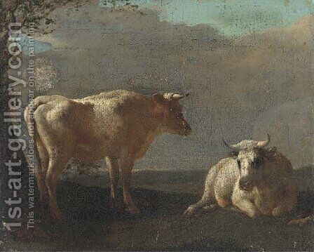 Cattle resting in a landscape by (after) Paulus Potter - Reproduction Oil Painting