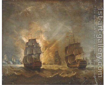 A naval battle by (after) Peter Monamy - Reproduction Oil Painting