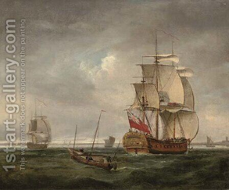 An English frigate coming into port and making ready to anchor by (after) Peter Monamy - Reproduction Oil Painting