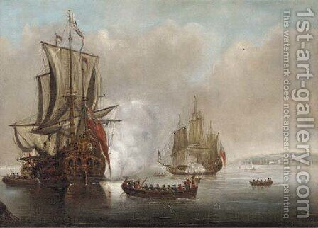 The flagship arriving with a frigate saluting off to starboard by (after) Peter Monamy - Reproduction Oil Painting