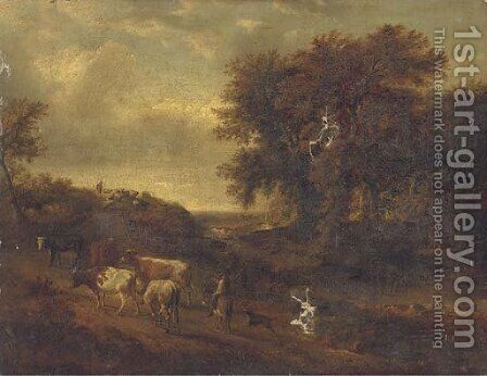 A wooded landscape with a herdsman and his cattle on a track by (after) Philip Jakob - Reproduction Oil Painting