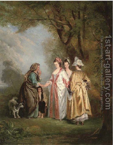 Elegant company with a gypsy in a landscape by (after) Mercier, Philippe - Reproduction Oil Painting