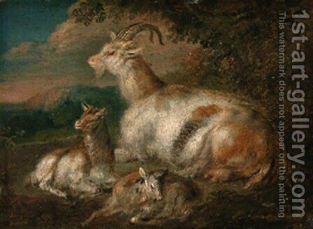 Goats and a kid in a wooded landscape by (after) Philipp Peter Roos - Reproduction Oil Painting