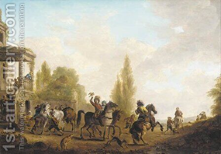 A hawking party 2 by (after) Philips Wouwerman - Reproduction Oil Painting