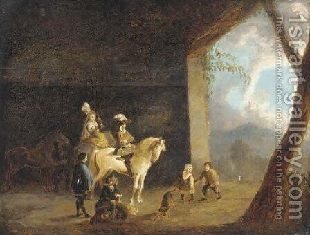 A hawking party setting out from a barn by (after) Philips Wouwerman - Reproduction Oil Painting