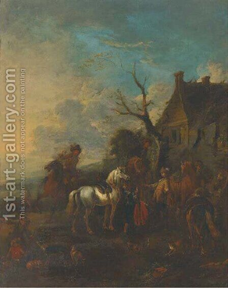 A hunting party halted outside an inn by (after) Philips Wouwerman - Reproduction Oil Painting