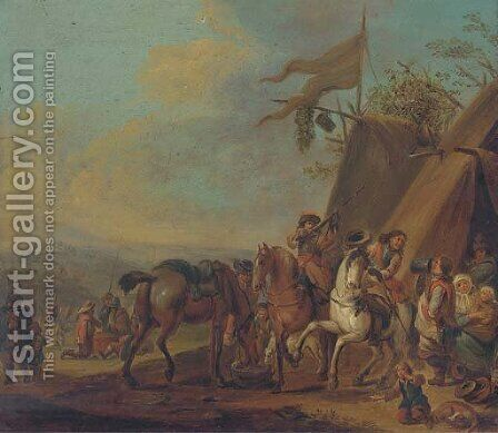 Cavalrymen halting at an encampment by (after) Philips Wouwerman - Reproduction Oil Painting
