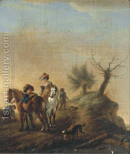 Elegant figures resting on a track by (after) Philips Wouwerman - Reproduction Oil Painting