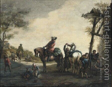 Horsemen outside a blacksmith's with chlidren playing nearby by (after) Philips Wouwerman - Reproduction Oil Painting