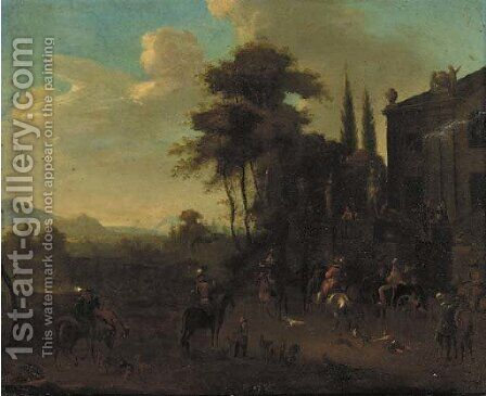 A Hunting Party Gathered By A Villa by (after) Philips Wouwerman - Reproduction Oil Painting