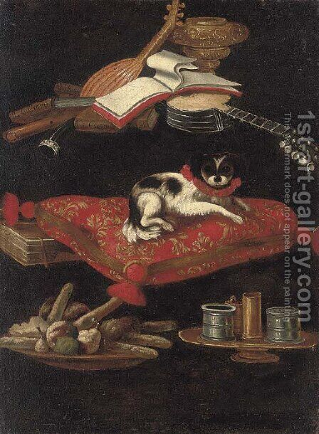 A spaniel on an embroidered cushion with a plate of sweetmeats by (after) Pier Francesco Cittadini - Reproduction Oil Painting