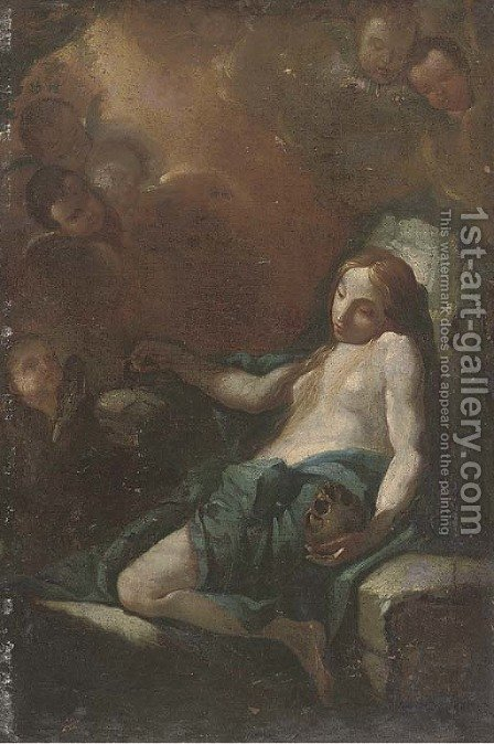 The Penitent Magdalen by (after) Pier Francesco Mola - Reproduction Oil Painting