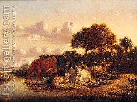Cattle and Sheep grazing in extensive Landscapes by (after) Pierre Emanuel Dielman - Reproduction Oil Painting