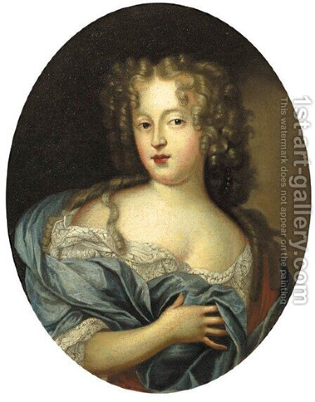Portrait of a lady, wearing a blue dress with lace chemise and wrap by (after) Mignard, Paul - Reproduction Oil Painting