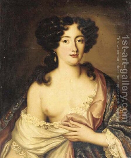 Portrait of Marie Mancini (1640-1715), Prince Colonna, half-length, in an embroidered cloak by (after) Mignard, Paul - Reproduction Oil Painting