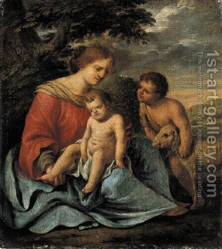 The Madonna and Child with the Infant Saint John the Baptist by (after) Mignard, Paul - Reproduction Oil Painting