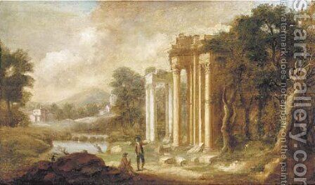 A landscape with gentlemen inspecting classical ruins by (after) Pierre-Antoine The Younger Patel - Reproduction Oil Painting