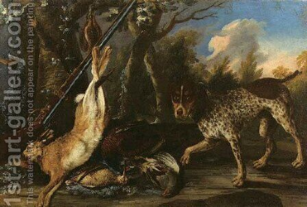 A dead hare and dead snipes hanging from a tree with a pheasant by (after) Pieter Andreas Rysbrack - Reproduction Oil Painting