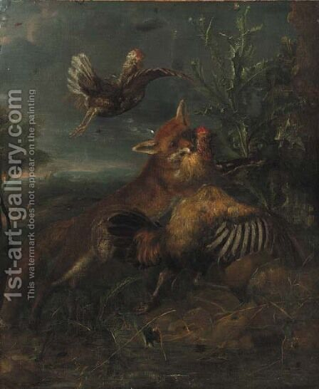 A fox chasing a cockerel by a thistle in a landscape by (after) Peeter Boel - Reproduction Oil Painting