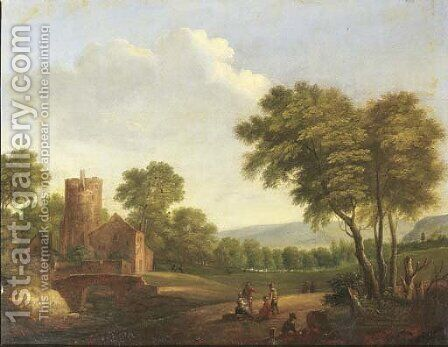 A wooded landscape with travellers resting by a tree by (after) Pieter Bout - Reproduction Oil Painting