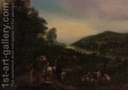 Peasants returning from market on a country road by (after) Pieter Bout And Adriaen Fransz. Boudewijns - Reproduction Oil Painting