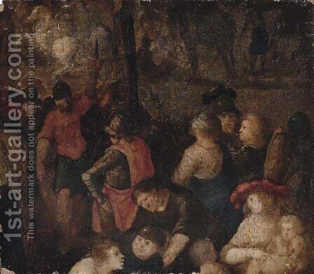 Soldiers - a fragment, possibly from a crucifixion by (after) Pieter The Younger Brueghel - Reproduction Oil Painting