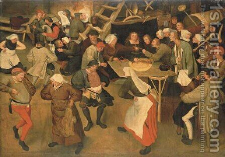 The Wedding Dance in the Barn by (after) Pieter The Younger Brueghel - Reproduction Oil Painting