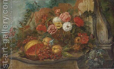 A melon, grapes on the vine, peaches and mixed flowers by (after) Pieter Casteels III - Reproduction Oil Painting