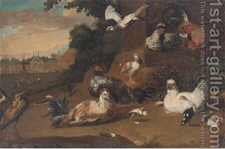 Birds in a wooded clearing, a country house beyond by (after) Pieter Casteels III - Reproduction Oil Painting