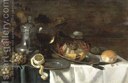 A crab on a pewter plate by (after) Pieter Claesz - Reproduction Oil Painting