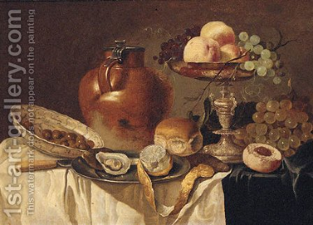 An oyster and a peeled lemon on a pewter plate by (after) Pieter Claesz - Reproduction Oil Painting