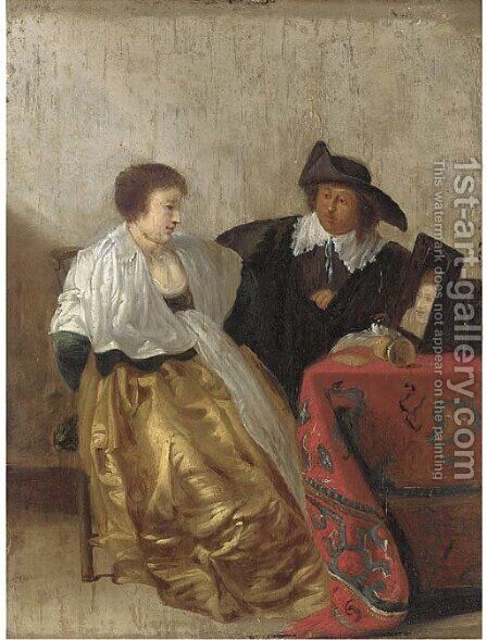 An elegant couple at a dressing table by (after) Pieter Codde - Reproduction Oil Painting