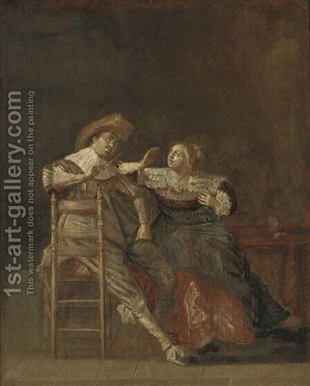 An elegant couple in an interior 2 by (after) Pieter Codde - Reproduction Oil Painting