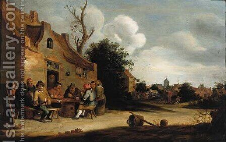 Peasants smoking and drinking outside an inn, a village in the distance by (after) Pieter De Bloot - Reproduction Oil Painting