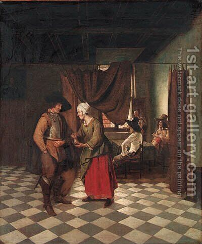 An interior with a soldier paying a servant by (after) Pieter De Hooch - Reproduction Oil Painting