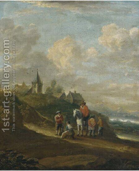 A dune landscape with peasants resting on a track, a town beyond by (after) Pieter Molijn - Reproduction Oil Painting